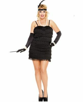 New Music Legs 70590Q-B Plus Size 1920's Stunning Black Flapper Costume