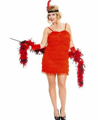 New Music Legs 70590Q-R Plus Size 1920's Flaming Red Flapper Costume