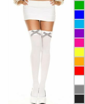 New Music Legs 47422 Opaque Thigh High Stockings With Checker Bow