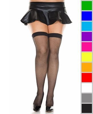 New Music Legs 4900Q Plus Size Neon Fishnet Thigh High Stockings
