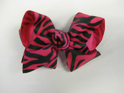 "NEW 4"" Boutique Hot Pink 'n Zebra Hair Bow Baby Toddler Girls Fascinator Spring"
