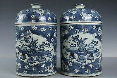 Chinese Beautiful A pair Blue and white Porcelain Plum blossom Tea pots