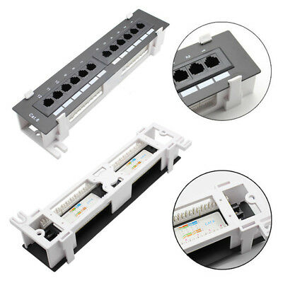 12Port CAT5 CAT6 Pro RJ45 Network Patch Panel Wall Mount Rack Surface Bracket F2