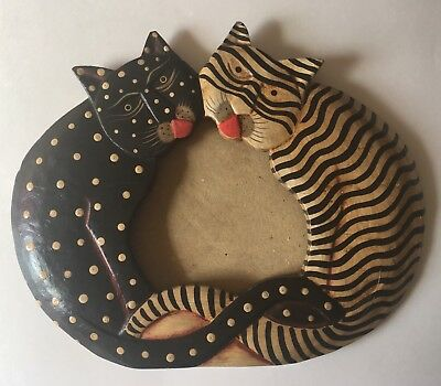 Wooden Hand Painted Cat Shaped Frame Cat Lover's Polka Dot & Striped Cats
