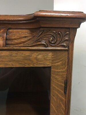 Antique Tiger Oak Carved Bookcase