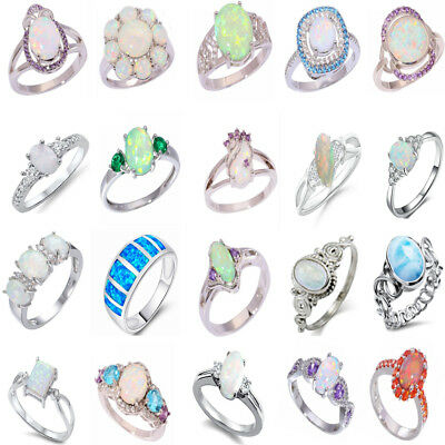 Women 925 Sterling Silver Fire Opal Ring Bridal Wedding Engagement Jewelry #6-10