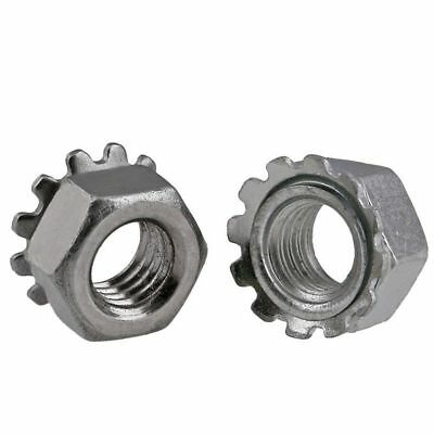 QTY 10 - M8 x 1.25mm Pitch K-Lock Nuts (Keps) Hex Nuts 304 Stainless Steel