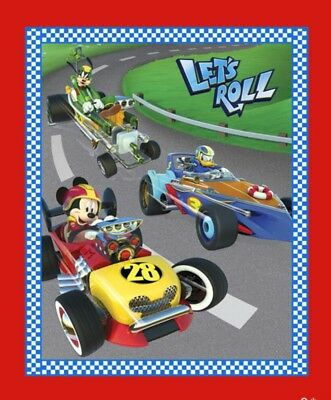 Disney Mickey & Friends Quilt Panel * Let's Roll * New * Free Post *