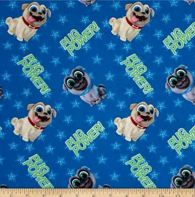 Disney Puppy Dog Pals Fabric * Pug Power  * New * Free Post * Why Pay $28 *