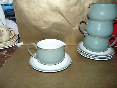 denby regency green gravy jug / sauce boat and tray