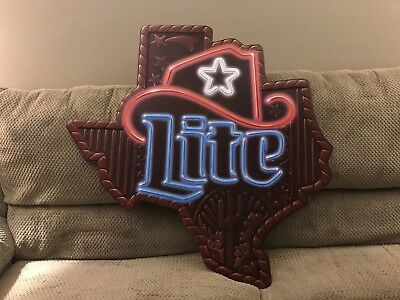 Vintage Miller Lite Beer Sign Metal State of Texas New Old Stock Neon Look 37""