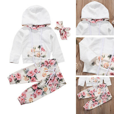 3PCS Infant Kids Baby Girl White Clothes Hooded Top Floral Pant Outfit Tracksuit