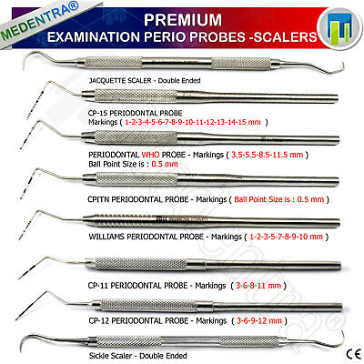 Medentra® Range Of Periodontal Examination Probes WHO Cp-11, Williams, CPITIN CE