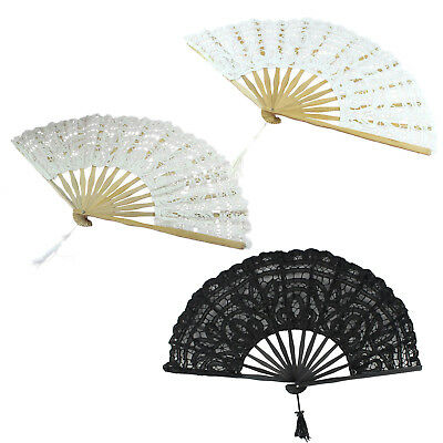 Handmade Cotton Lace Folding Hand Fan for Party Bridal Wedding Decoration BV