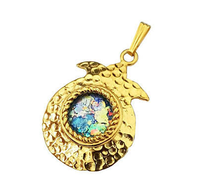14K yellow Gold Roman Glass Pomegranate Pendant Necklace