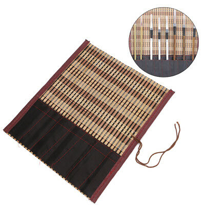 New Painting Brush Holder Bamboo Roll Up Bag Calligraphy Pen Case Curtain Pack