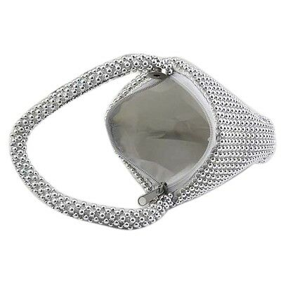 Small Soft Body Beaded Pouch Shaped evening Bag change purse -Silver DP B1T0