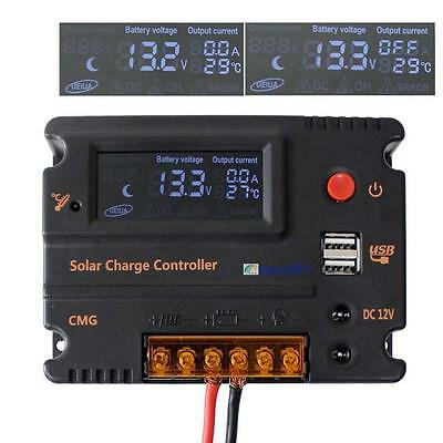 20A LCD Solar Panel Battery Regulator Charge Controller 12V 24V Auto Switch GE