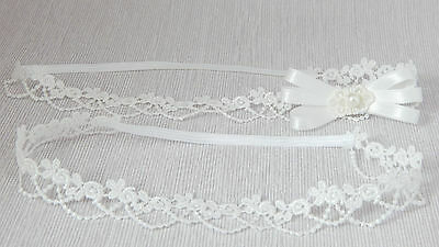 Lace baby tiara for christening, baptism, wedding, bow Handmade by FairyDust