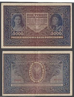 Poland 5000 Marek 1920 (VF++) Condition Banknote KM #31 LARGE