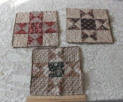 "3 Early American Quilted 11"" Squares~Hand Blocked Cottons c1810~1830"
