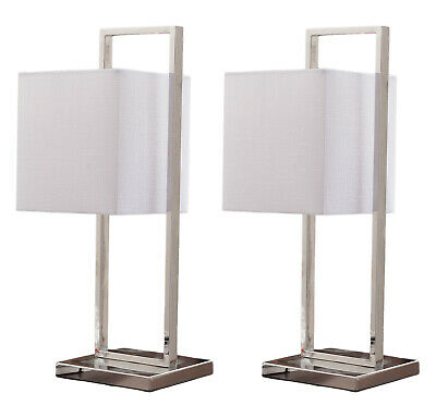Kings Brand Nicksville Stainless Steel / White Shade Table Lamps, Set of 2