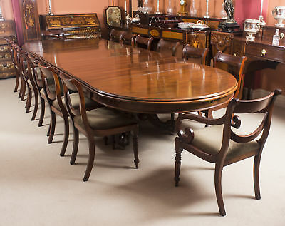 Antique Victorian Mahogany Twin Base  Dining Table 19th C & 14 chairs
