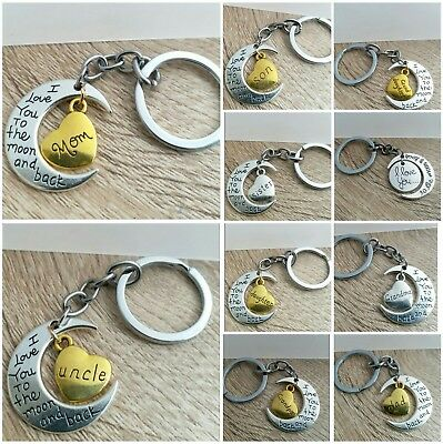 Personalised Family Name Heart Keyring Keychain Engraved Text Birthday Gift