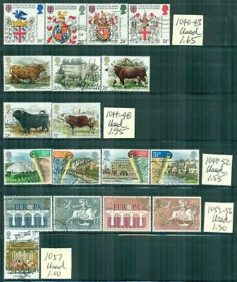 GREAT BRITAIN 1040-92 SG1236-71 Used 1984 Commemoratives 8 sets, 1 single Cat$14
