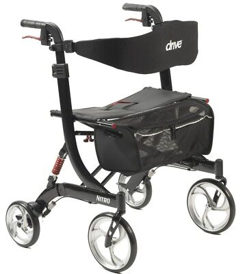 Drive Medical HD Nitro Euro Rollator Folding Walker Adult 4 Wheels 10266HD ~NEW~