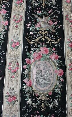 Lovely Antique French Roses & Cupids Printed Home Dec Cotton Sample Fabric c1860