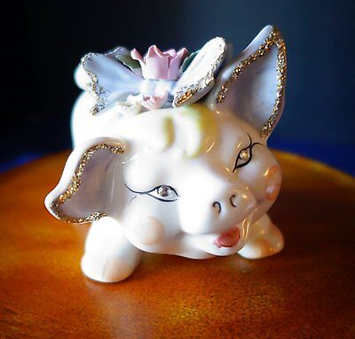 Vintage, collectable Pink Piggy Bank with Porcelain Flowers
