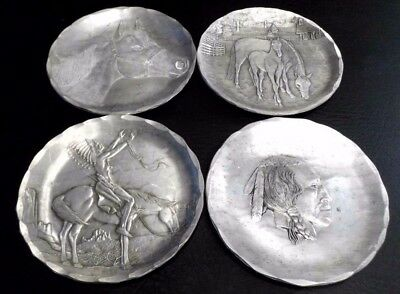 RARE VINTAGE HAMMERED ALUMINUM HAND FORGED HORSE NATIVE COASTERS Wendell August