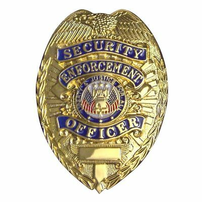 Security Enforcement Officer GOLD Badge Novelty Shield Guard Agent Costume Party