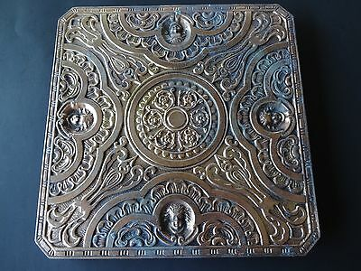 Heavy Ornate Vintage Brass Square Insert, 4- places to attach