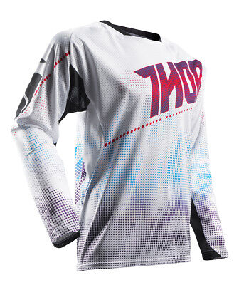 THOR MX Motocross Men's 2017 FUSE AIR LIT Jersey (White/Red) Choose Size