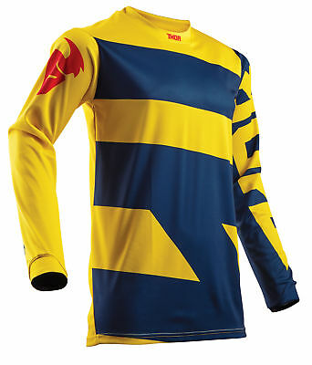THOR MX Motocross Men's 2018 PULSE LEVEL Jersey (Navy/Yellow) Choose Size