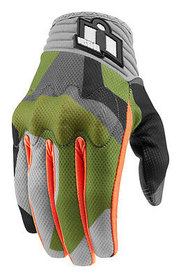 ICON Anthem DEPLOYED Touchscreen Motorcycle Gloves (Green) Choose Size
