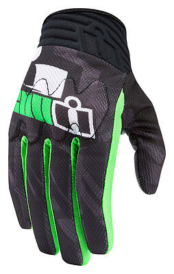 ICON Anthem PRIMARY Textile/Leather Touchscreen Gloves (Black/Green) Choose Size