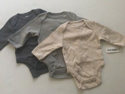 Old Navy Baby Boy 3 Bodysuits Size 3 6 Months Layette Neutral Tan Grey Solid