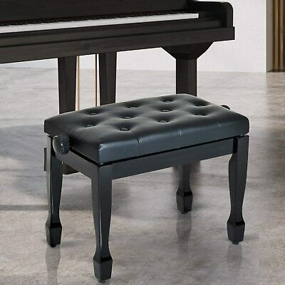 "25"" Adjustable Padded Piano Bench Wooden Artist Keyboard Seat Stool Chair Black"