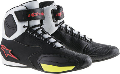 ALPINESTARS FASTER Road/Street Motorcycle Shoes (Blk/White/Red/Yllw) Choose Size