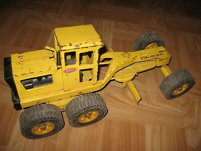 VINTAGE YELLOW TONKA PRESSED STEEL ROAD GRADER Collectible Toy AS IS rolls fine!