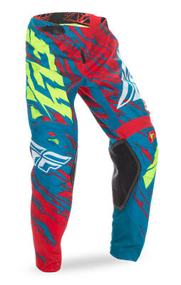 FLY RACING MX MTB BMX Kids 2017 Kinetic RELAPSE Pants (Teal/Red) Choose Size