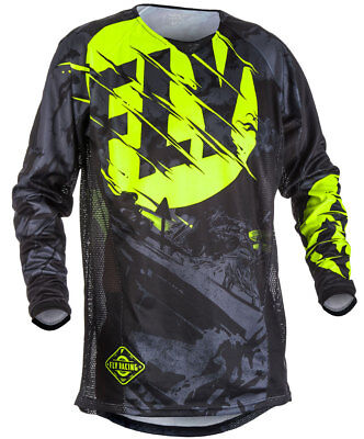 Fly Racing MX Motocross MTB BMX 2018 KINETIC Outlaw Jersey (Black/Hi-Vis)