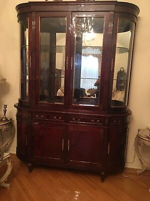 Italian Half Circle 2 Piece Lighted China Cabinet Shiny Wood Color