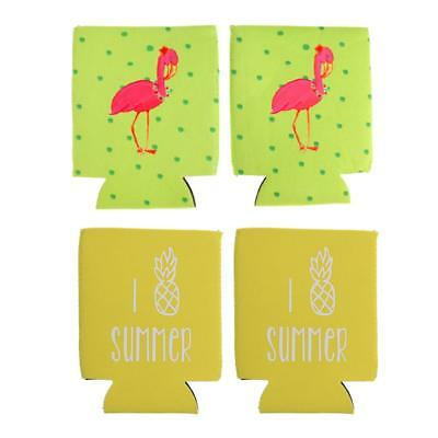 2 Pair Pineapple Flamingo Can Cooler Stubby Holder Summer Party Accessories