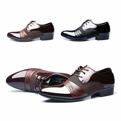 AU Men's Leather Formal Office Work Smart Shoes Casual Pointed Toe Wedding Shoes