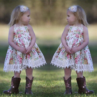 Toddler Kids Baby Girls Dress Lace Floral Party Dresses Summer Sundress Outfits