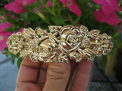 "Vtg Nos Gold Lightweight Metal Hair Barrette French Clip Roses 4"" x 1 1/2"""